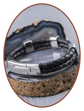 JB Memorials Stainless Steel Leather Men's Cremation Ash Bracelet - VAS004