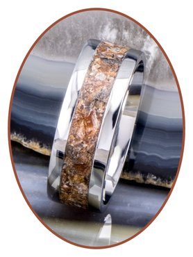 JB Memorials Stainless Steel Unisex Cremation Ash Ring 'Petrified Wood'- CRA025