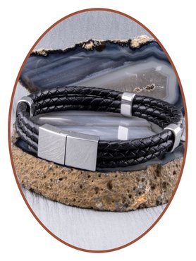 JB Memorials Stainless Steel Leather Ash Bracelet - ZAS014H