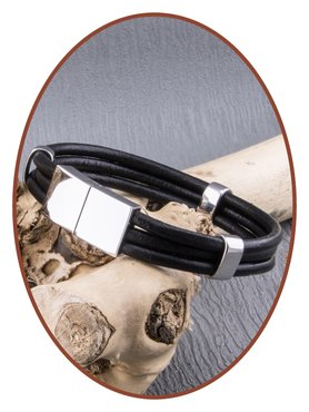 JB Memorials Stainless Steel Leather Ash Bracelet - ZAS014HA