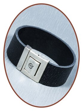 QúeB Memorials Mens Leather 'Craquelé' Commemorative Bracelet - ZA016G
