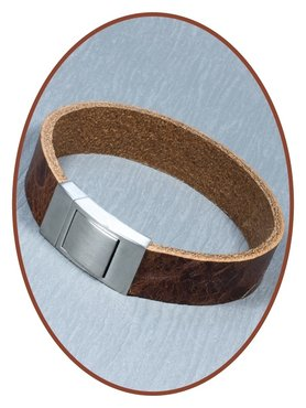 JB Memorials Stainless Steel Leather Special Cremation Ash Bracelet - ZAS006
