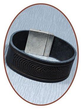 QúeB Memorials Mens Leather (Fingerprint / Text) Cremation Ash Bracelet - ZA002