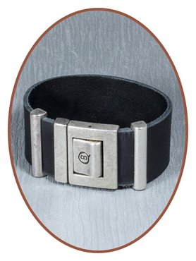 QúeB Memorials Mens Leather Cremation Ash Bracelet - ZA009