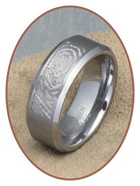 Tungsten Carbide Matte Fingerprint Remembrance Ring - TUR001
