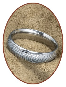 316L Stainless Steel Engraved Fingerprint Remembrance Ring - TR004