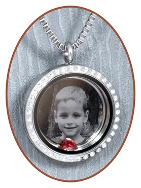316L Stainless Steel JB Memorials Glass Photo Medaillon - RSP121