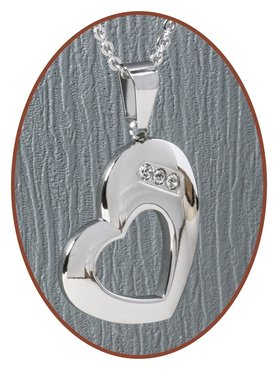 316L Stainless Steel JB Memorials 'Heart' Cremation Pendant - RSP097