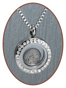 316L Stainless Steel JB Memorials Glass Medaillon Cremation Pendant - RSP098