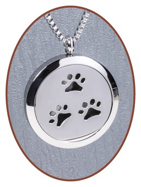 316L Stainless Steel JB Memorials 'Pet Paw' Medaillon Cremation Pendant - RSP106
