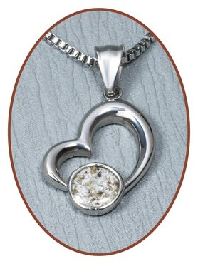 316L Stainless Steel JB Memorials 'Heart' Cremation Pendant - RSP119