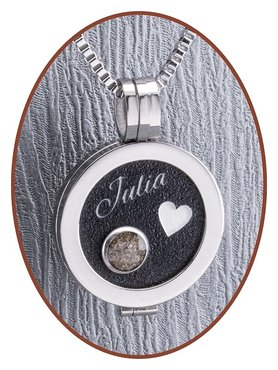 316L Stainless Steel JB Memorials Black Cremation Locket Pendant - RSP072B
