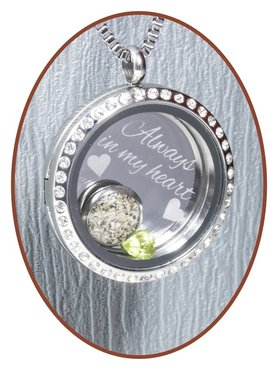 316L Stainless Steel JB Memorials Glass Medaillon Cremation Pendant - RSP081