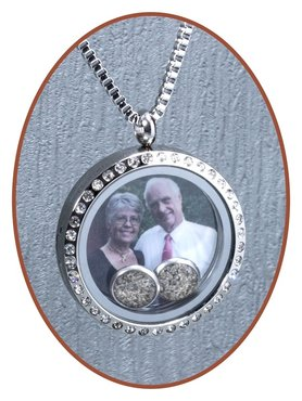 316L Stainless Steel JB Memorials Glass Medaillon 'DUO' Cremation Pendant - RSP085