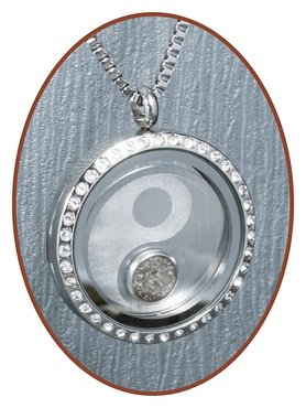 316L Stainless Steel JB Memorials Ýin-Yang' Glass Medaillon Cremation Pendant - RSP086Y
