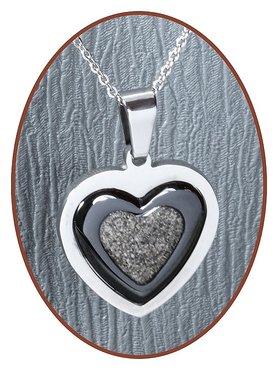 316L Stainless Steel/Ceramic JB Memorials 'Heart' Cremation Pendant - RSP087