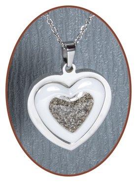 316L Stainless Steel/Ceramic JB Memorials 'Heart' Cremation Pendant - RSP088