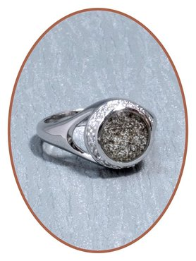 JB Memorials Silver / Rhodium Cremation Ash / Hairlock Ring - RB052