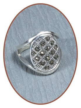 925 Sterling Silver Marcasite Cremation Ring - RB053