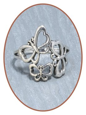 JB Memorials 925 Sterling Silver 'Butterfly' Cremation Ring - RB060