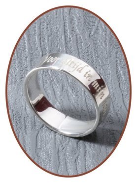 JB Memorials 925 Sterling Silver Text Remembrance Ring 5mm - RB066