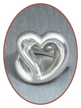 JB Memorials 925 Sterling Silver XL 'Heart' Cremation Ring - RB074