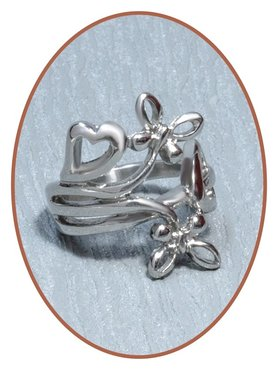 Stainless Steel 'Heart/Butterfly' Cremation Ring - RB094