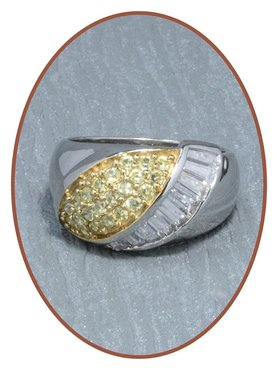 925 Sterling Silver 14 C Gold CZ Cremation Ring - RB023
