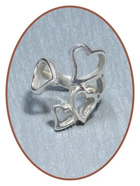 JB Memorials 925 Sterling Silver 'Hearts' Cremation Ring - RB033