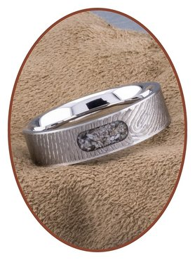 JB Memorials Stainless Steel Unisex Cremation Ash Fingerprint Ring - RB044V