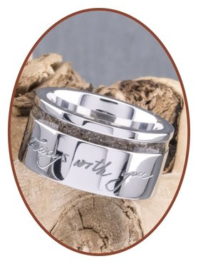 JB Memorials Cobalt Chrome Ladies Handwriting Cremation Ring - RB046DH
