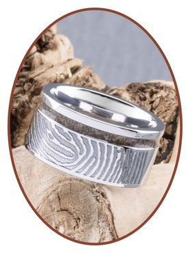 JB Memorials Cobalt Chrome Ladies Fingerprint Cremation Ring - RB046DV