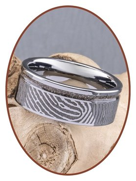 JB Memorials Tungsten Carbide Fingerprint Men Cremation Ring - RB046HV