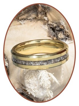 JB Memorials Tungsten carbide Gold special cremation ring - RB048G