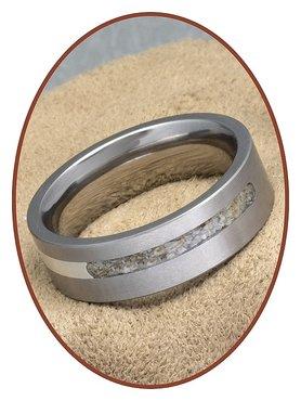 JB Memorials Titanium-Silver Cremation Ring - RB050