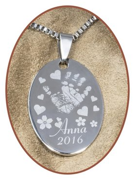 Stainless Steel Engraving Remembrance Pendant - PAC366