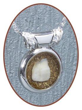 Rhodium/Silver JB Memorials Design (Milk) Tooth pendant - PR001