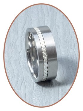 JB Memorials Titanium/Silver Text Remembrance Ring - JB127