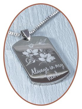 Stainless Steel Engravable Remembrance Pendant - JRB001