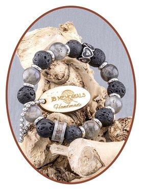JB Memorials Labradorite/Lava Ash Bracelet - KHA004