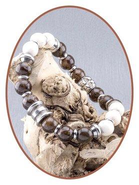JB Memorials Bronzite White Turquoise Ash Bracelet - KHA010