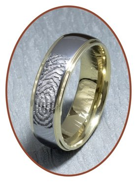 Tungsten Carbide 'gold' Fingerprint Remembrance Ring - AA001V