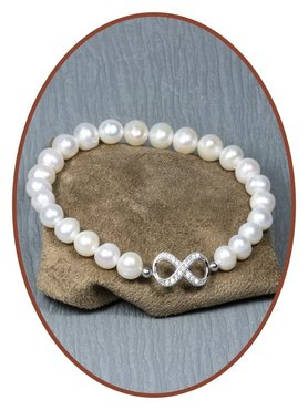 925 Sterling Silver Pearl Ladies Cremation Ash Bracelet  - AB090