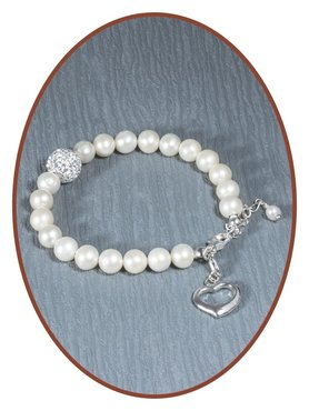 925 Sterling Silver Pearl Ladies Cremation Ash Bracelet  - AB081