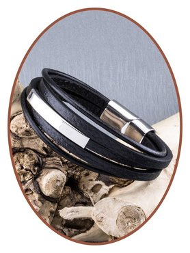 JB Memorials Stainless Steel Leather Cremation Ash Bracelet - ASB014
