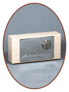 Luxury Beechwood - Stainless steel Remembrance Block With Ash-charm - BEU001