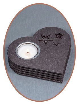 Mini Ash Urn 'Heart' with Tealight Holder in Different Colors - HM302TLR