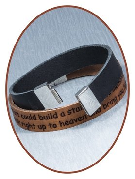 JB Memorials Stainless Steel Leather Tekst Bracelet - GEL001