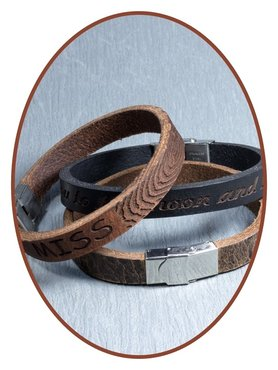 JB Memorials Stainless Steel Leather Tekst Bracelet - GEL002