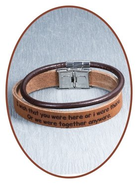 JB Memorials Stainless Steel Leather Tekst Bracelet Set - GEL003
